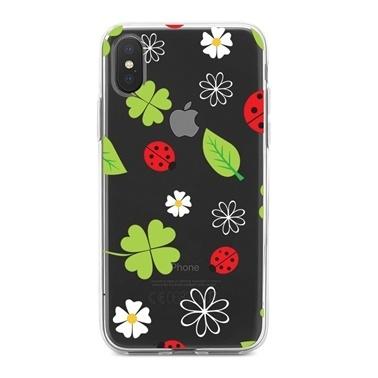Lopard iPhone Xs Max Kılıf Silikon Arka Koruma Kapak Uğur Böcekleri Yonca Desenli Renkli